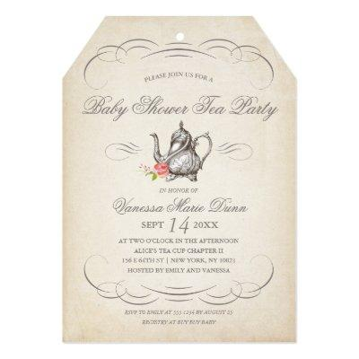 Classy Vintage Tea Party | Baby Shower Invitations