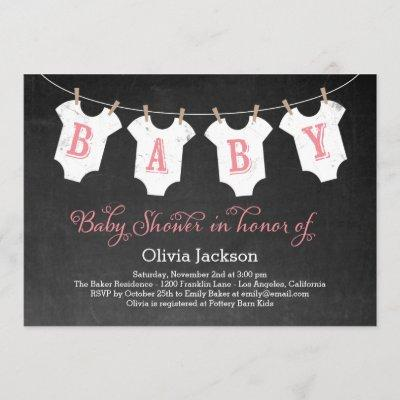 Clothing Garland Baby Shower Invitation - Pink