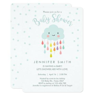Cloud Baby Shower Invitations Raindrop Love