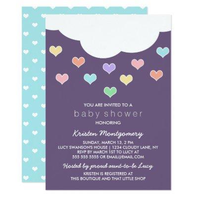 Cloud & Pastel Hearts | Purple Baby Shower Invite