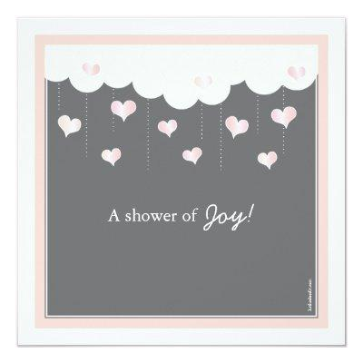 Clouds & Hearts Baby Shower for Girl Invitations