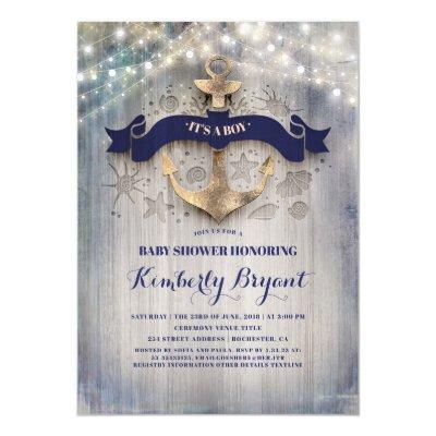 Coastal Nautical Golden Anchor Baby Shower Invitations
