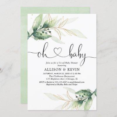 Coed baby shower invitation, Modern gold greenery Invitation