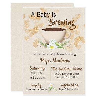 Coffee Baby is Brewing Baby Shower Invitations