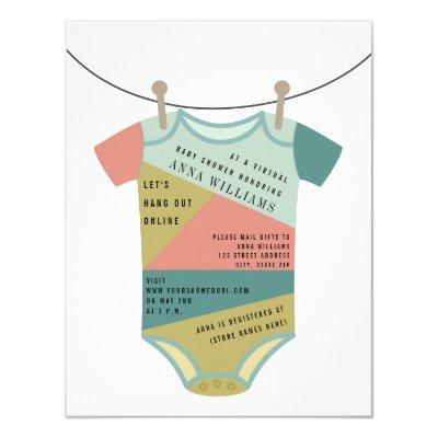 Color Block Bodysuit Virtual Baby Shower By Mail Invitation