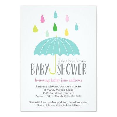 Colored Raindrops Baby Shower Invite