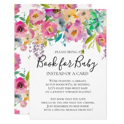 Colorful Bloom Floral Baby Shower Book for Baby Invitation