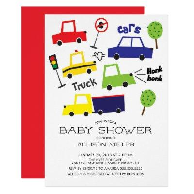 Colorful Cars & Trucks Baby Shower Invitation