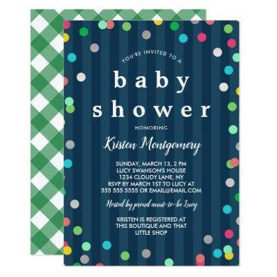Colorful Confetti - Dark Blue Baby Shower Invitation