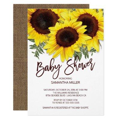 Colorful Fall Sunflowers Neutral Baby Shower Invitations