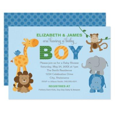 Colorful Jungle Animals Baby Boy Shower Blue Invitation