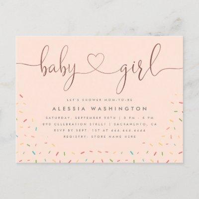 Colorful Sprinkle Rose Gold Girl Baby Shower Invitation Postcard