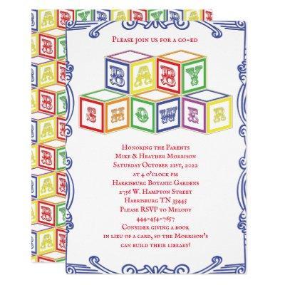 Colorful Vintage Blocks Baby Shower Invitation