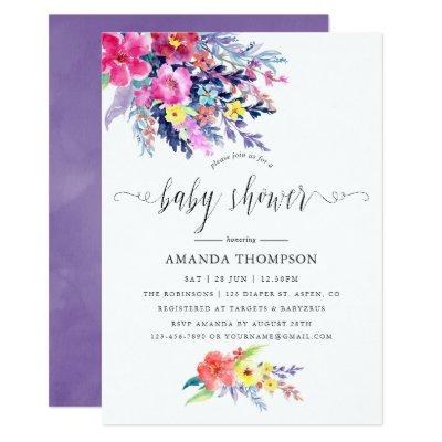 Colorful Watercolor Floral Baby Shower Invitations
