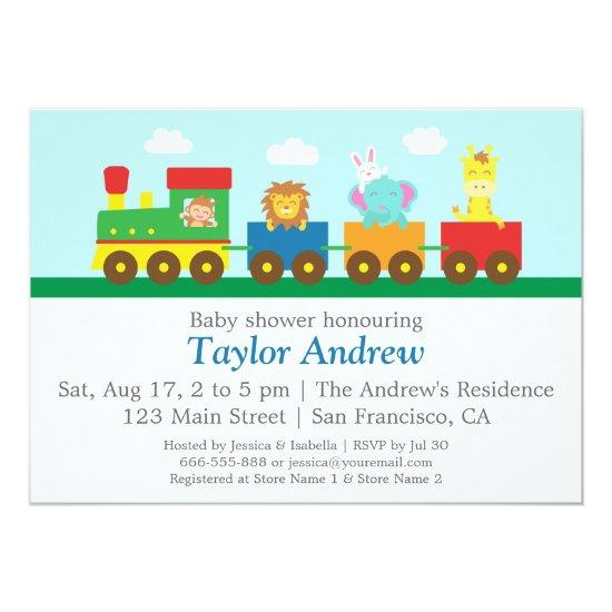 Colourful cute animals train baby shower party invitations baby colourful cute animals train baby shower party invitations filmwisefo