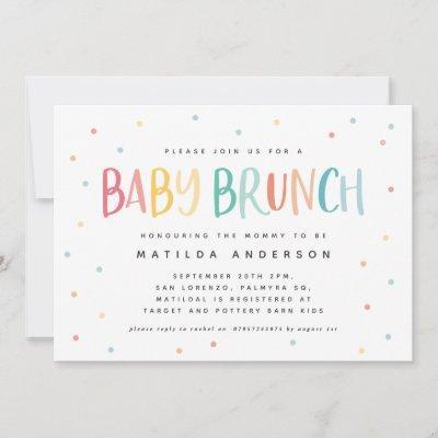 Colourful rainbow baby brunch invitation