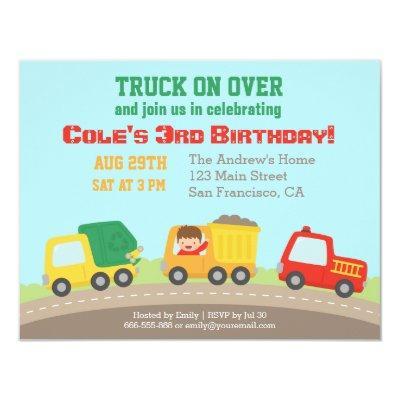Colourful Truck Boys Birthday Party Invitations