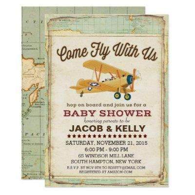 Come Fly Airplane Travel Invitations