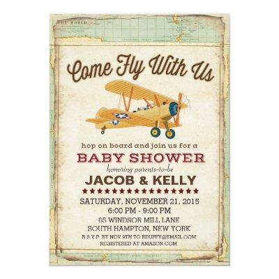 Come Fly Baby Shower Airplane Travel Invitations
