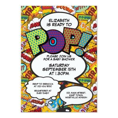 Comic Book Pop Art Ready to Pop Baby Shower Invite