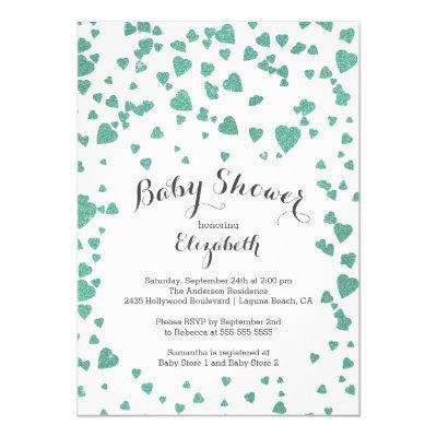 Confetti Glitter Heart Baby Shower Invitation