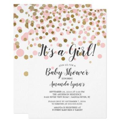 Confetti It's A Girl Baby Shower Invitation