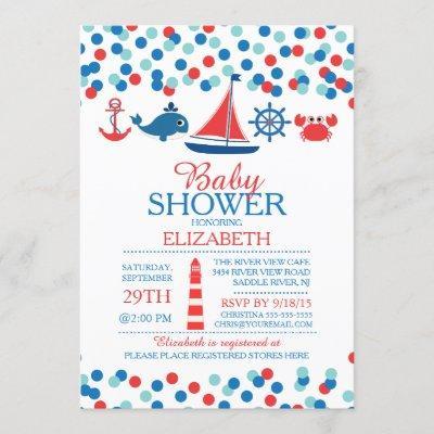Confetti Nautical Boys Baby Shower Invitation