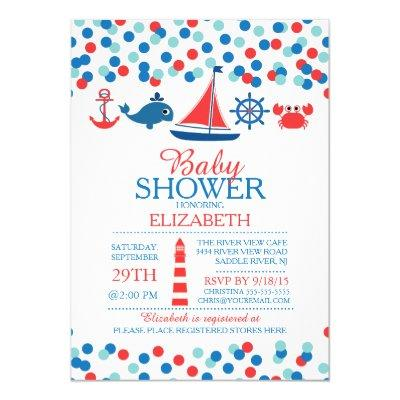 Confetti Nautical Boys Baby Shower Invitations