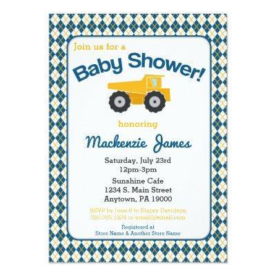 Construction Baby Shower Invitations Boy Truck