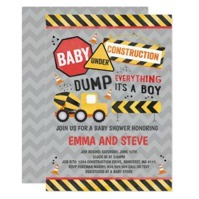 Construction Baby Shower Invitation Truck Shower