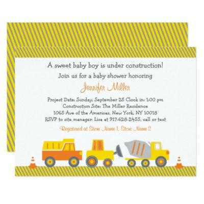 Construction Truck Baby Shower Invitation