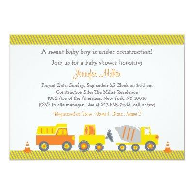 Construction Truck Invitations