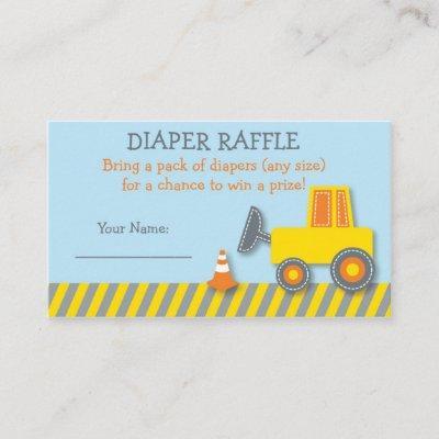 Construction Truck Diaper Raffle Tickets Enclosure Card