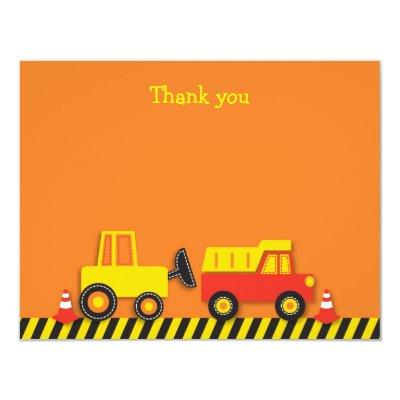 Construction Truck Flat Thank You Note Invitations