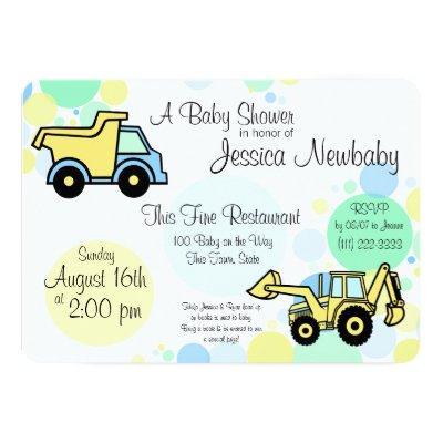 Construction Trucks Baby Shower Invitations