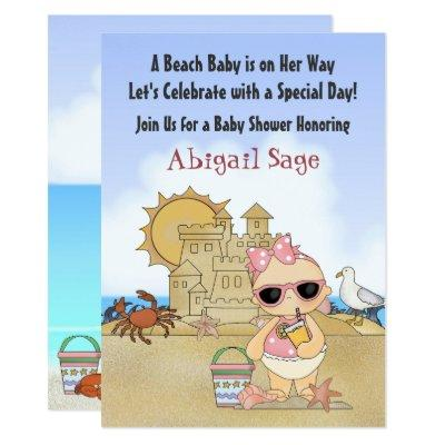 Beach baby shower invitations baby shower invitations baby shower cool beach baby girls filmwisefo Image collections