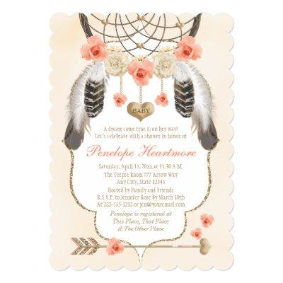 Coral and Gold Dreamcatcher Boho Baby Girl Shower Invitations