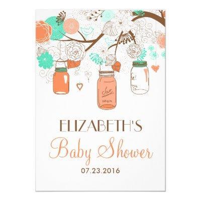 Coral & Aqua Mason Jars Baby Shower Invitations