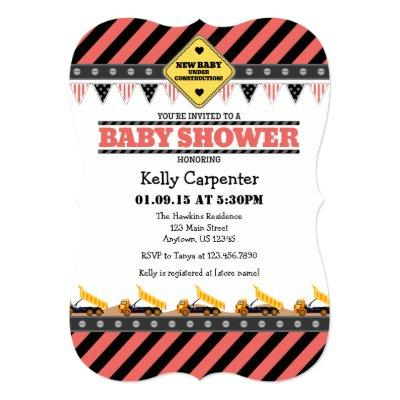 Coral Construction Baby Shower Invitations