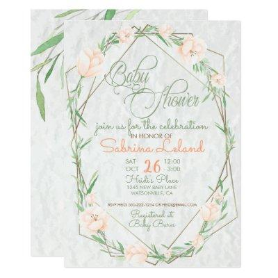 Coral Flowers Greenery Terrarium Baby Shower Invitation