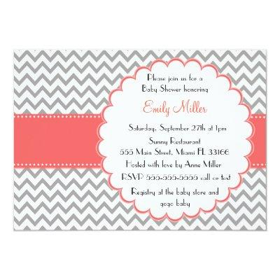 Coral Grey Invitation Purple Chevron Baby Shower