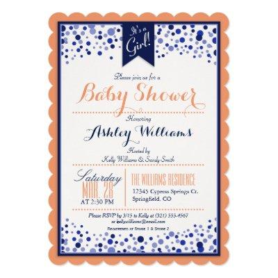 Coral Orange, White, & Navy Blue Baby Shower Invitations