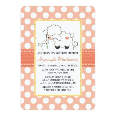 Coral Polka Dot Lamb Baby Shower Invitations