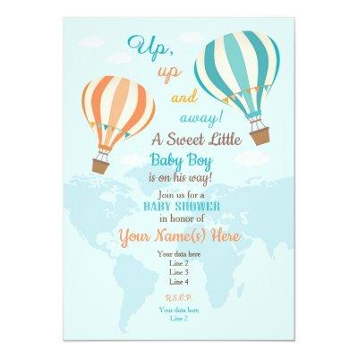 Coral Turquoise Hot Air Balloon Invitations