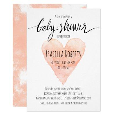 Coral watercolor typography baby shower Invitations