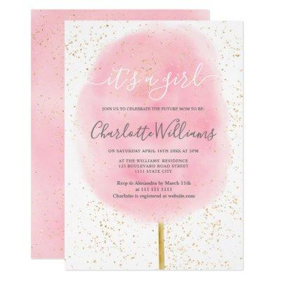 Cotton candy glitter pink watercolor baby shower invitation