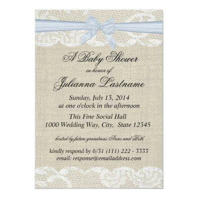 Country Lace and Burlap with Baby Blue Bow Shower Invitation