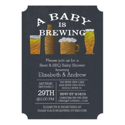 Couple Baby Brewing Barbecue Invitations