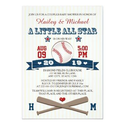 COUPLES ALL STAR BASEBALL Invitations