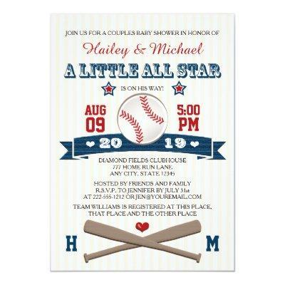 COUPLES ALL STAR BASEBALL BABY SHOWER Invitations